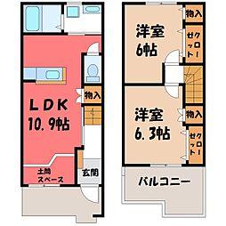 茨城県筑西市西谷貝の賃貸アパートの間取り