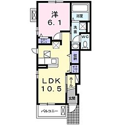 エスポワールK&L I 1階1LDKの間取り