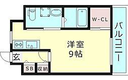 ヴァンスタージュ大阪城East 6階ワンルームの間取り