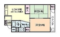 大阪府池田市城南3丁目の賃貸マンションの間取り
