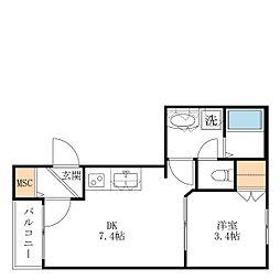 小田急小田原線 経堂駅 徒歩3分の賃貸マンション 2階1DKの間取り