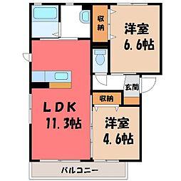 栃木県下都賀郡壬生町通町の賃貸アパートの間取り