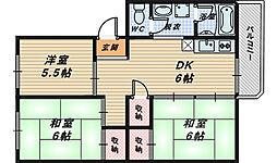 大阪府堺市南区鴨谷台3丁の賃貸マンションの間取り