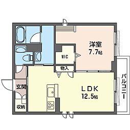 仮称 蓮田市上2丁目シャーメゾン 2階1LDKの間取り