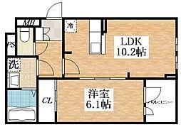 メゾン・ド・コクーン 1階1LDKの間取り