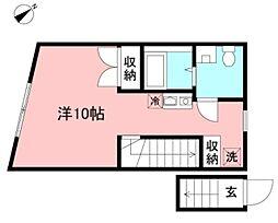 (仮)矢野口新築長屋 2階ワンルームの間取り