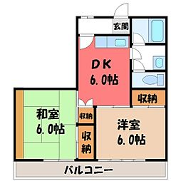 栃木県宇都宮市陽南2の賃貸マンションの間取り