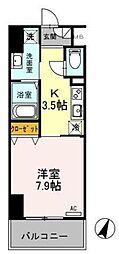 東武伊勢崎線 越谷駅 徒歩5分の賃貸マンション 3階1Kの間取り