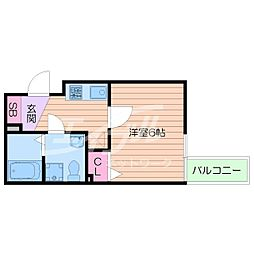 Osaka Metro中央線 阿波座駅 徒歩2分の賃貸マンション 15階1Kの間取り