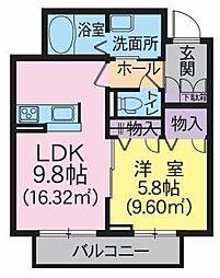 RM3 C 1階1LDKの間取り