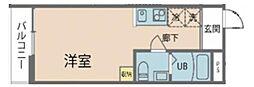 クオン梶ケ谷 2階ワンルームの間取り