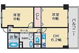緑地JIROII 15階2DKの間取り