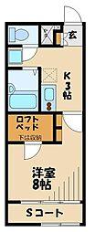 JR八高線 東飯能駅 徒歩17分の賃貸アパート 1階1Kの間取り