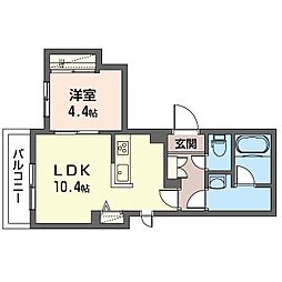 Menlo Park Residence 3階1LDKの間取り