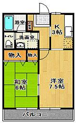 長谷川ビレッジB棟[202号室]の間取り