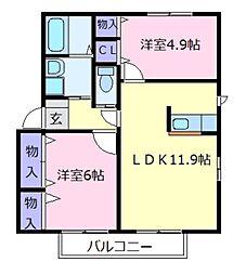 メゾン ルミエールA[2階]の間取り