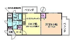 大阪府豊中市曽根南町2丁目の賃貸マンションの間取り