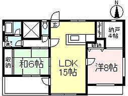 河原邸2階住居[2階]の間取り