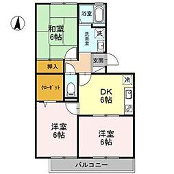 埼玉県草加市遊馬町の賃貸アパートの間取り