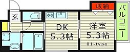 セレニティ今福南 3階1DKの間取り
