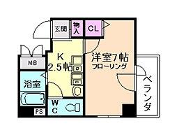 エスリード梅田西第2[7階]の間取り