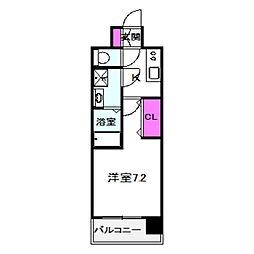 ファステート都島ベルズ 7階1Kの間取り