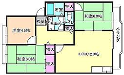 大阪府枚方市大峰北町1丁目の賃貸アパートの間取り
