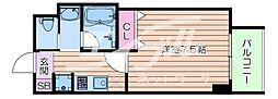 Osaka Metro御堂筋線 江坂駅 徒歩6分の賃貸マンション 7階ワンルームの間取り