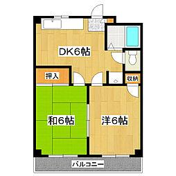 岩田ハイツ[203号室]の間取り