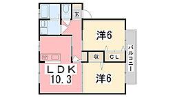 フラワービレッジ茉琴[1階]の間取り