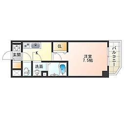 阪神なんば線 九条駅 徒歩8分の賃貸マンション 4階1Kの間取り