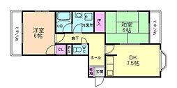 ビュー中桜塚[3階]の間取り
