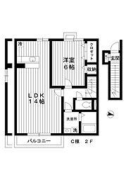 東京都練馬区中村南2丁目の賃貸アパートの間取り