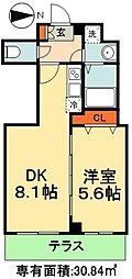 JR総武線 千葉駅 徒歩9分の賃貸マンション 1階1LDKの間取り