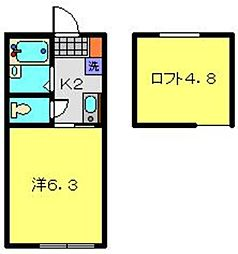 神奈川県横浜市南区宮元町3丁目の賃貸アパートの間取り