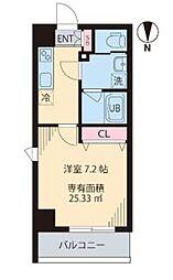 都営大江戸線 森下駅 徒歩8分の賃貸マンション 2階1Kの間取り