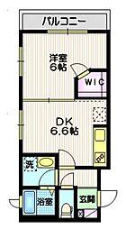 東急大井町線 戸越公園駅 徒歩8分の賃貸マンション 2階1DKの間取り