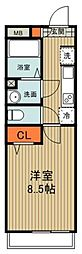 西武新宿線 東村山駅 徒歩7分の賃貸アパート 3階1Kの間取り