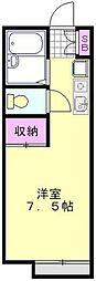 東武野田線 大和田駅 徒歩12分の賃貸アパート 1階ワンルームの間取り