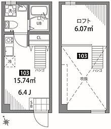 桜上水アパートメント 1階ワンルームの間取り