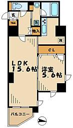 京王相模原線 京王多摩センター駅 徒歩2分の賃貸マンション 9階1LDKの間取り