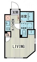 ブラン渋谷本町 1階ワンルームの間取り