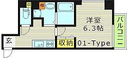 ヒルズ桜宮 1階1Kの間取り