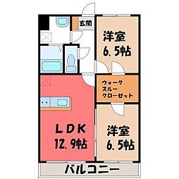 ルミエールmm 2階2LDKの間取り