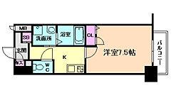 Osaka Metro谷町線 南森町駅 徒歩8分の賃貸マンション 11階1Kの間取り