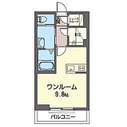 仮)木更津駅前マンション 2階ワンルームの間取り