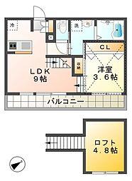 愛知県豊田市山之手8丁目の賃貸アパートの間取り