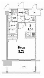 福岡市地下鉄空港線 中洲川端駅 徒歩14分の賃貸マンション 14階1Kの間取り