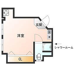 阪神なんば線 伝法駅 徒歩13分の賃貸マンション 2階ワンルームの間取り