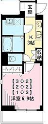 東急池上線 荏原中延駅 徒歩3分の賃貸マンション 2階1Kの間取り